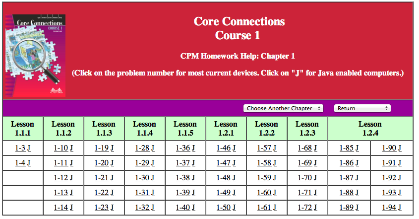 "Core Connections Course 3 Homework Help - "" + spCol1Header"